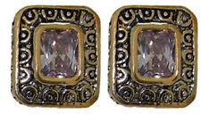Earring Swarovski CZ Stone White 18 Karat Citrene Black Lavender, Peridot Pink