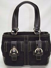 Coach Soho Mini Signature Double Pockets Leather Trim Satchel Tote Purse 3646