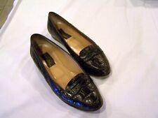 Sesto Meucci dark brown crocodile shoes/flats/loafers, vintage, sz. 7M