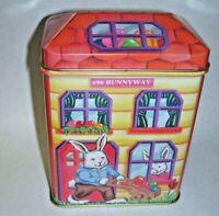 Vintage Yellow  Bunny Tin Box House Shape