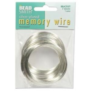 """1 Ounce (70 Loops) Silver Plated Stainless Steel 2"""" Round Memory Wire Bracelets"""