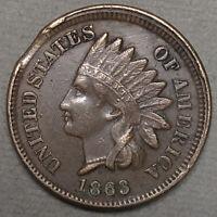 1863 Indian Head Cent 1C - VF/XF Condition - ERROR Rim Clip
