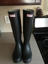 Hunter 'Original Tall' Black Matte Rain Boots Size 8US/39EU