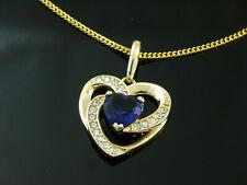 585 Goldkette mit Herz Anhänger in Größe 14 mm x 12 mm mit Saphir und Zirkonia