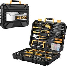 198Pcs DEKOPRO Mechanics Hand Tool Kit Set  Metric Socket Wrench Screwdriver