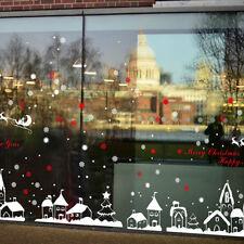 Set Noël Stickers Mural Flocon Neige Bourgade Autocollant Décor Vitrine Fenêtre