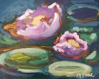 "Mona Vivar original impressionist water lily pond peaceful art painting 8""x10"""