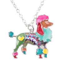 Enamel Alloy Poodle Dog Necklace Chain Pendant Choker Pet Jewelry For Women Gift