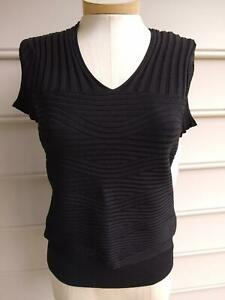 NWT $165 ETCETERA BLACK STRETCH WAVY RIBBED DESIGN SWEATER TOP size S