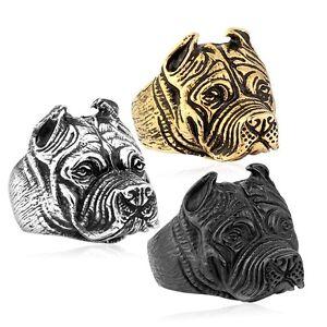 Punk Ring Cute Pitbull Pit Bull Dog Stainless Steel Mens Women Bulldog Ring