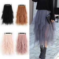 Women High Waist Ruffle Mesh Tutu Maxi Skirt Sheer Mesh Tulle Pleated Long Dress