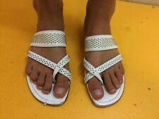 Manolo Blahnik 38/7 White Leather w/ Silver Studding Sandals
