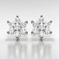 1Ct Diamond D/VVS1 Flower Earrings Set In 14K White Gold Over Sterling Silver