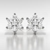 2Ct Diamond D/VVS1 Flower Earrings Set In 14K White Gold Over Sterling Silver