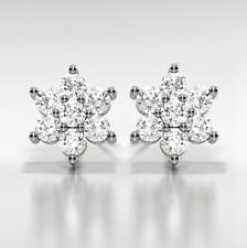 1Ct Diamond D/VVS1 Flower Earrings Set In 14K White Gold Over Sterling Silver