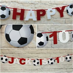 Personalised Red and White football Birthday Bunting Party soccer Banner