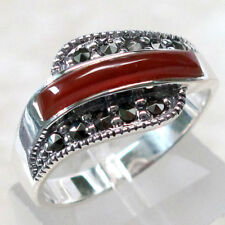 AWESOME MARCASITE RED AGATE 925 STERLING SILVER RING SIZE 5-10