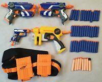 Nerf Gun Bundle of 4 Guns Nerf Jolt Nerf Firestrike Nerf Ammo Belt + 47 Bullets