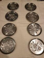 Set Of 8 Forged Aluminum Coasters Rose Pattern