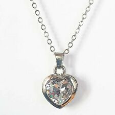 White gold finish heart created diamond pendant necklace free postage gift boxed