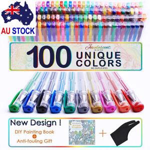 Professional 100 Color Gel Pen Paint Book Craft Drawing Glitter Neon Metallic E