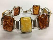 Stunning 925 Silver SYN 22x16mm Amber Bracelet Vintage Estate Gem Stone Jewel