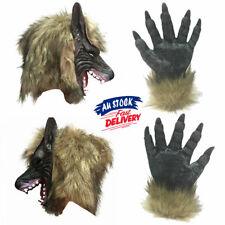 Halloween Scary Fancy Dress Rubber Hair Wolf Head Gloves Werewolf Latex Mask