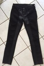 Blank NYC Black Cotton/Leather Contrast Panel Low Rise Stretch Skinny Jeans 25