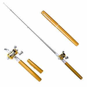 Heiß!! Mini tragbare Tasche Fisch Pen Aluminiumlegierung Angelrute Pole Ree