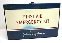 Vintage Johnson Johnson Blue Metal First Aid Kit Box with Contents