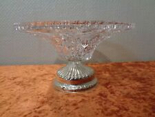 Crystal Glass Bowl with Metal Stand - Foot Bowl/Centerpiece - 25 CM