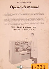 "Lodge & Shipley 10"", HI Turn Lathe Operations & Template Prep Copymatic, Manual"