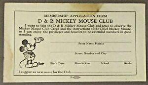 rare circa 1930 D&R MICKEY MOUSE CLUB Membership Application Form - unused