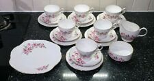 Royal Sutherland H & M Fine Bone China Tea Set Pink Roses Cups Saucers Plates