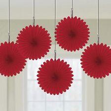 Rote Papierfächer, 5 Stück, Raumdeko, zu Mottopartys, Valentinstag, Muttertag,
