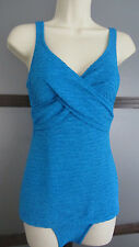 Ladies Swimsuit Bathing Suit Crepe Aqua Blue Retro Glam Sz 8 by Paradise Bay