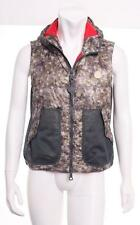 MONCLER Mens Gray+Red Down Hooded Puffer Quilted Mesh Sides Zip Vest 1/S