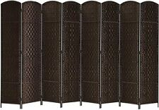 8 Panel Wall Room Divider Diamond Weave Fiber Privacy Folding Screen Dark Coffee