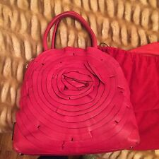 VALENTINO ROSE BLUSH LEATHER BIG FLOWER PETALE DOME TOP HANDLES BAG Fuchsia
