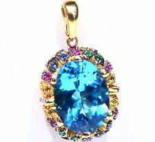 Vintage 14K Solid Gold Natural Topaz Sapphire Engagement Necklace Designer Deco