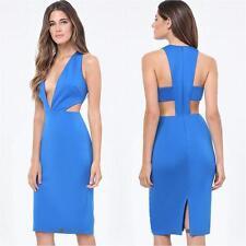 BEBE BLUE DEEP V CUTOUT PLUNGE DRESS NEW NWT $139 LARGE L