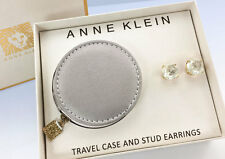 ANNE KLEIN Gold-Tone Faceted CLEAR Stud EARRINGS & Travel Case Gift Box Set