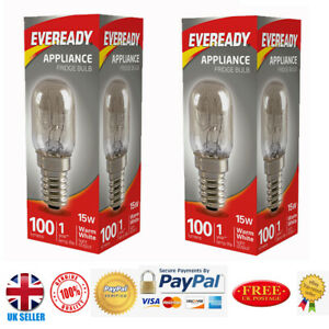 2x Eveready 15w Fridge / Appliance / Freezer Light Pygmy Bulb SES E14 240v Screw