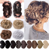 100% Real Natural Curly Messy Bun Hair Piece Scrunchie New Hair Extension US HCY