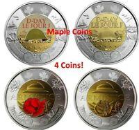 4 Canada coins: 2019 D-Day & 2018 Armistice Color & No-Color Toonie $2 BU UNC