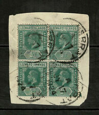 Leeward Islands 1921-32 KGV 1/2d Green Block Of Four Stamps On Piece - Fine Used