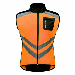 Mens Cycling Vest Windproof High Visibility Bike Gilet Riding Running Racing Top