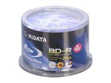 50-PK RITEK RIDATA 4X WHITE INKJET HUB PRINTABLE BD-R BLU-RAY BLANK DISC