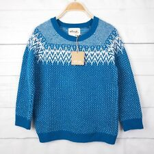 New Tellwide Womens Jumper S Wool Pompom Sweater Blue Boho Peasant Knit Top B211