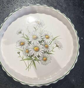 VINTAGE RETRO Ribbed Flan Quiche Pie dish 25cm white/green Daisy New